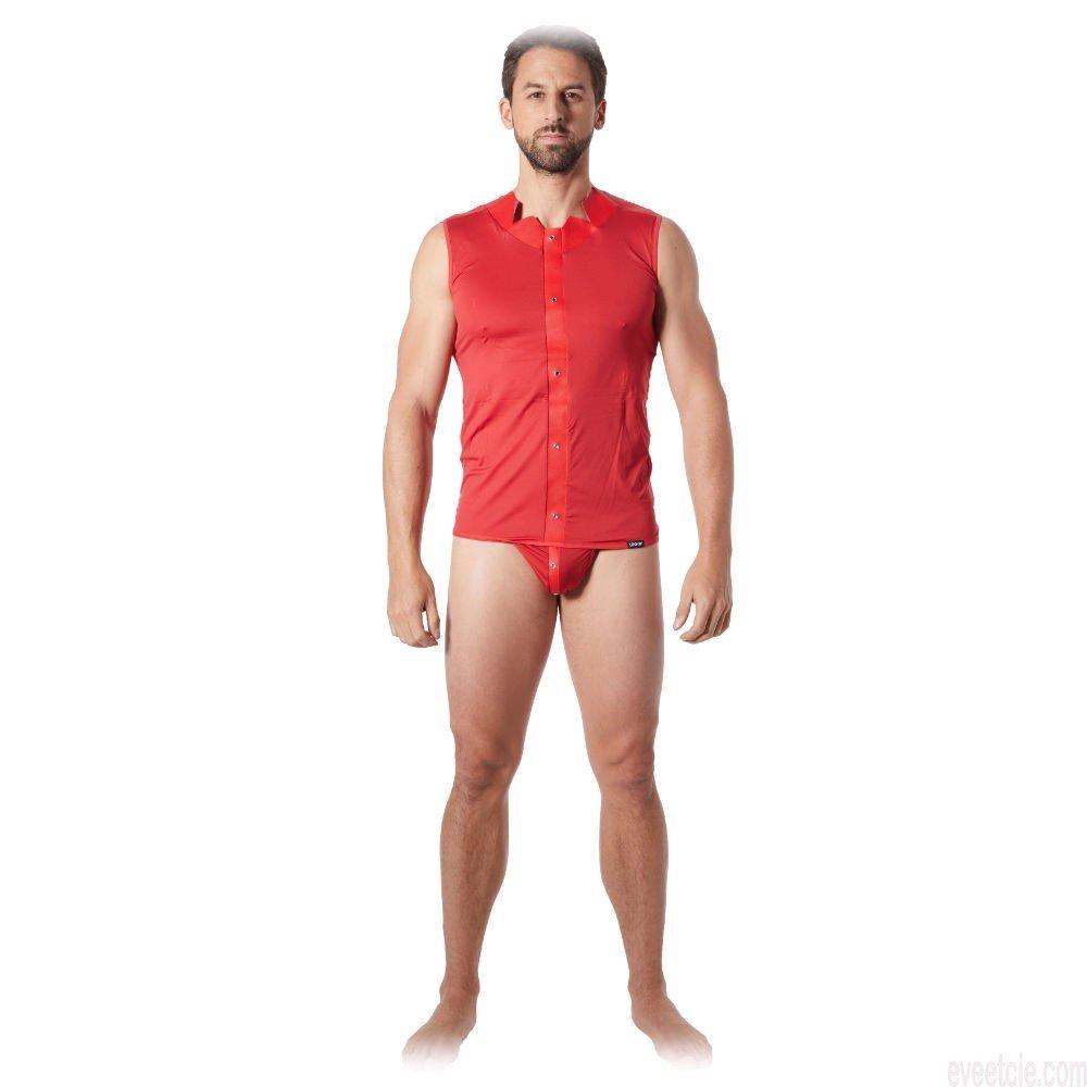 t-shirt homme lookme rouge fusion sur mannequin de face