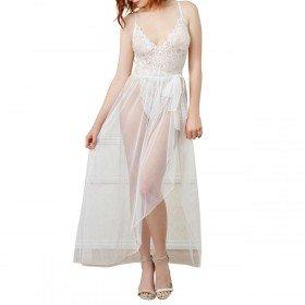 Zely Body blanc dreamgirl en dentelle de grande qualité et jupon long