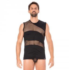 T-shirt sans manche débardeur homme col rond bi-matiere lookme 803 noir