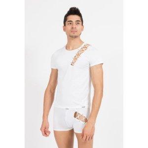 """T-Shirt """"Bad Boy"""" LookMe, coloris Blanc, sur mannequin vu de Face"""