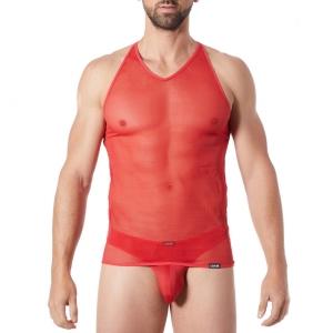T-shirt débardeur homme rouge col en V lookme Malibu 2