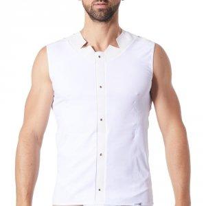 t-shirt homme lookme blanc fusion opaque bande cuir à oeillets