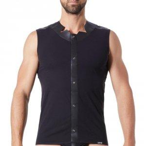 t-shirt homme lookme noir fusion opaque bande cuir a oeillets