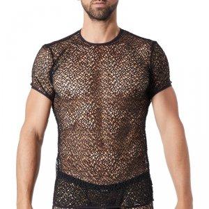 t-shirt homme noir lookme Fetish à grosses mailles transparentes