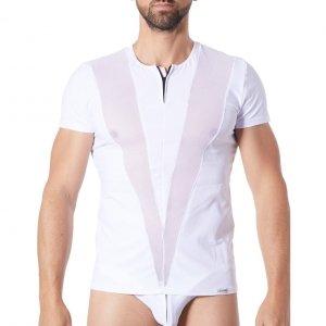 t-shirt Lookme Wave blanc opaque & résille en V sur les côtés de face