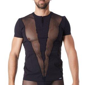 t-shirt Lookme Wave noir opaque & résille en V sur les côtés de face