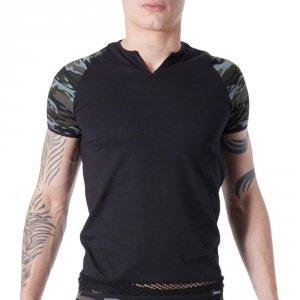 T-shirt homme lookme Army à motif camouflage & bande grosse résille