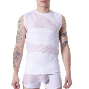 T-shirt sans manche débardeur homme col rond bi-matiere lookme 803 blanc