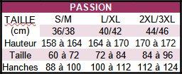 Équivalence des tailles pour la marque Passion